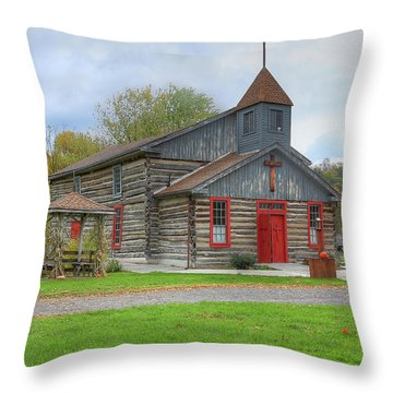Bedford Village Church Throw Pillow by Sharon Batdorf