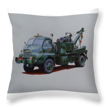 Throw Pillow featuring the painting Bedford Wrecker Afs by Mike Jeffries