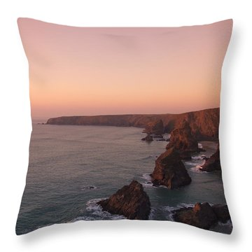 Bedruthan Steps Sunset Throw Pillow by Helen Northcott