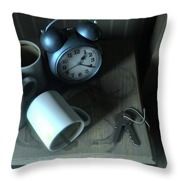 Bedside Table Insomnia Scene Throw Pillow