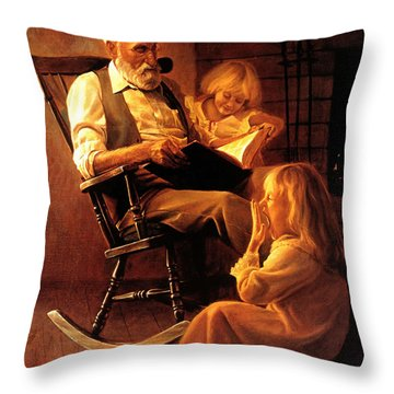 Throw Pillow featuring the painting Bedtime Stories by Greg Olsen