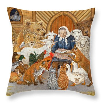 Bedtime Story On The Ark Throw Pillow by Ditz