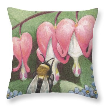 Bee And Bleeding Heart Throw Pillow by Amy S Turner