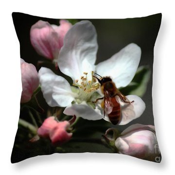 Bee And Blossom Throw Pillow by Erica Hanel