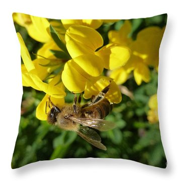 Bee And Broom In Bloom Throw Pillow