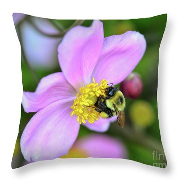 Throw Pillow featuring the photograph Bee And Japanese Anemone by Kerri Farley