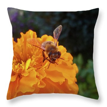 Bee And Marigold Throw Pillow