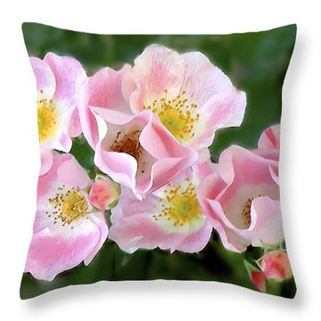 Bee And Roses Throw Pillow