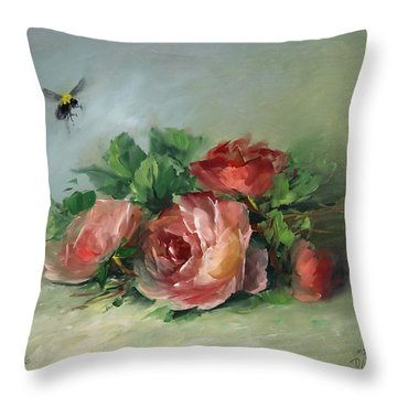 Bee And Roses On A Table Throw Pillow by David Jansen