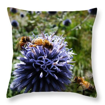 Bee Circles Throw Pillow