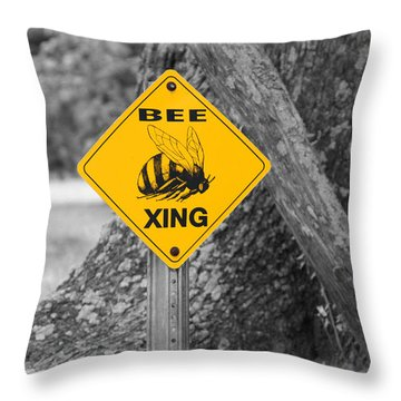 Bee Crossing Throw Pillow