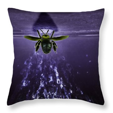 Bee Drilling Wood Throw Pillow