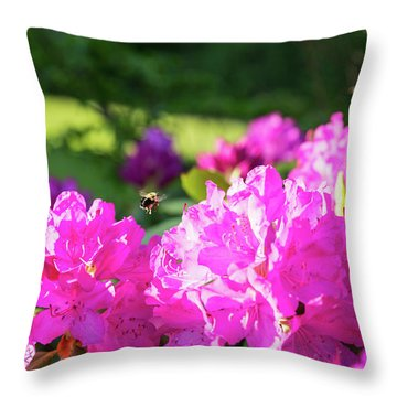 Bee Flying Over Catawba Rhododendron Throw Pillow