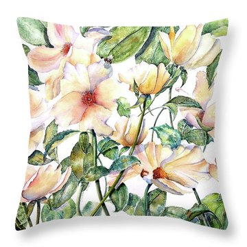 Bee Happy Throw Pillow by Debbie Lewis
