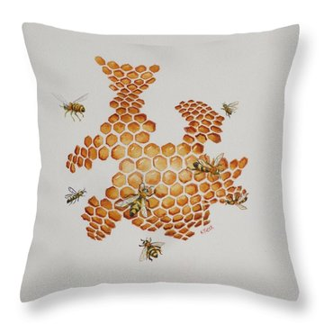 Throw Pillow featuring the painting Bee Hive # 1 by Katherine Young-Beck