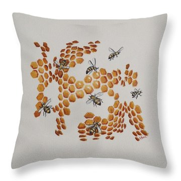Throw Pillow featuring the painting Bee Hive # 2 by Katherine Young-Beck