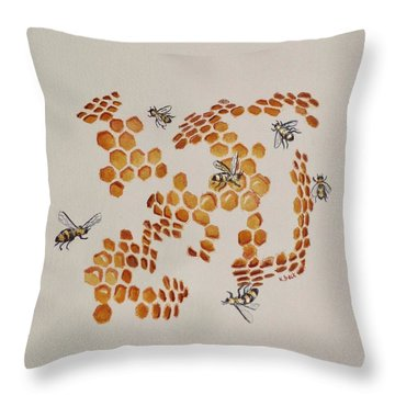 Throw Pillow featuring the painting Bee Hive # 3 by Katherine Young-Beck