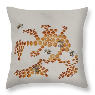 Throw Pillow featuring the painting Bee Hive # 4 by Katherine Young-Beck