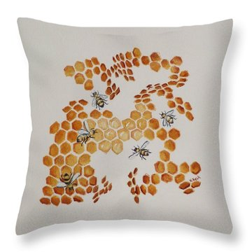 Throw Pillow featuring the painting Bee Hive # 5 by Katherine Young-Beck