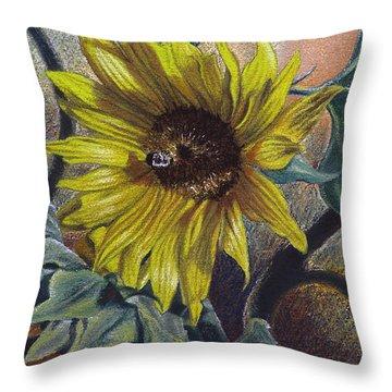 Bee In A Bonnet Throw Pillow by Peter Muzyka
