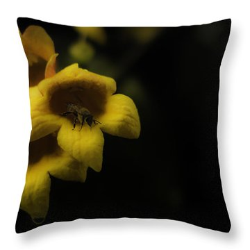 Bee In A Trumpet Throw Pillow