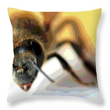 Throw Pillow featuring the photograph Bee In Macro 5 by Micah May