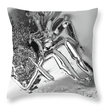 Throw Pillow featuring the photograph Bee In Macro Chrome by Micah May