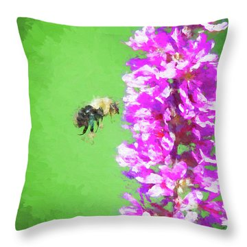 Bee Kissing A Flower Throw Pillow
