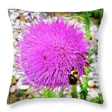 Bee Likes Purple Throw Pillow