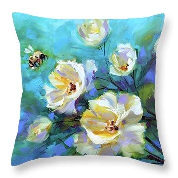 Bee Mine Throw Pillow by Nancy Medina