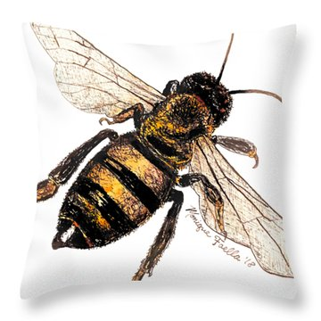 Throw Pillow featuring the painting Bee by Monique Faella