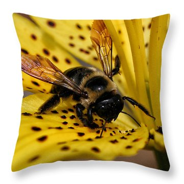 Bee On A Lily Throw Pillow