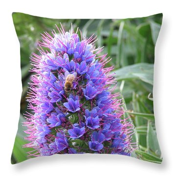 Bee On Blue Throw Pillow