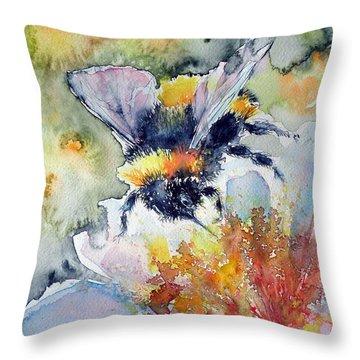 Bee On Flower Throw Pillow by Kovacs Anna Brigitta