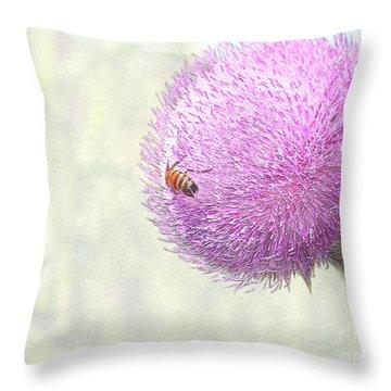 Bee On Giant Thistle Throw Pillow