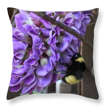 Bee On Native Wisteria Throw Pillow