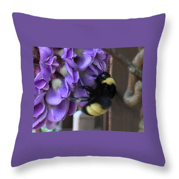 Bee On Native Wisteria I Throw Pillow