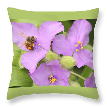 Throw Pillow featuring the photograph Bee On Purple Spiderwort by Sheila Brown