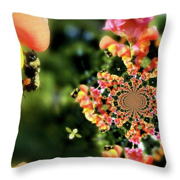 Bee On Snapdragon Flower Abstract Throw Pillow by Smilin Eyes  Treasures