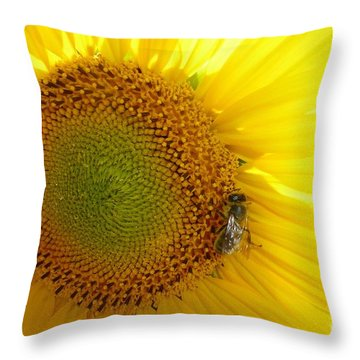 Throw Pillow featuring the photograph Bee On Sunflower by Jean Bernard Roussilhe