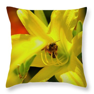 Bee On Yellow Lilly Throw Pillow