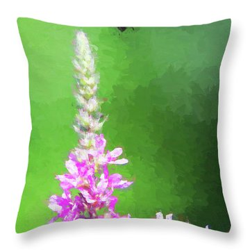 Bee Over Flowers Throw Pillow
