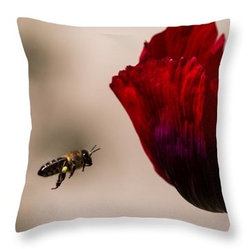 Bee Right Profile Flying To Red Flower Throw Pillow