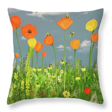 Bee-utiful Day Throw Pillow by Carol Sweetwood