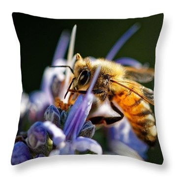 Bee Visits Rosemary  Throw Pillow