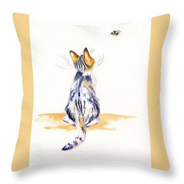 Bee Watchful Throw Pillow