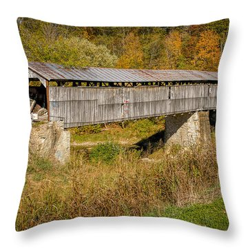 Beech Fork Or Mooresville Covered Bridge Throw Pillow