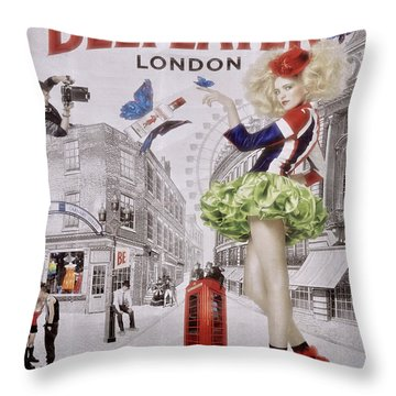 Beefeater Gin Throw Pillow by Mary Machare