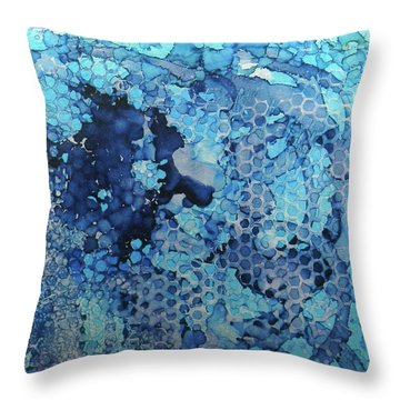 Throw Pillow featuring the painting Beekeeper Blues Ink #13 by Sarajane Helm