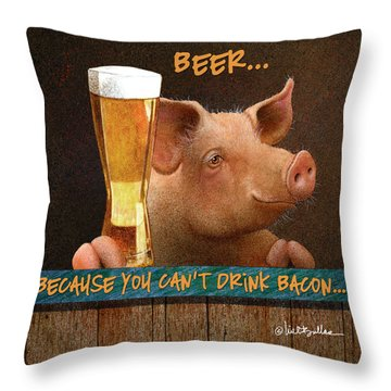 Throw Pillow featuring the painting Beer... Because You Can't Drink Bacon... by Will Bullas